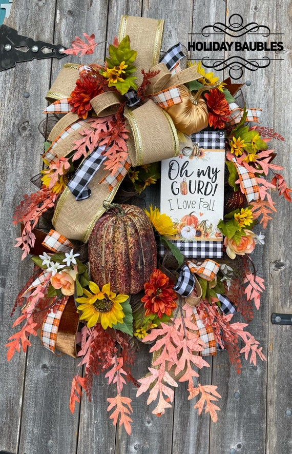 Fall Wreath, Fall Decor, Harvest Wreath, Autumn Wreath, Harvest Decor, Autumn Decor, Hello Fall, I Love Fall Wreath