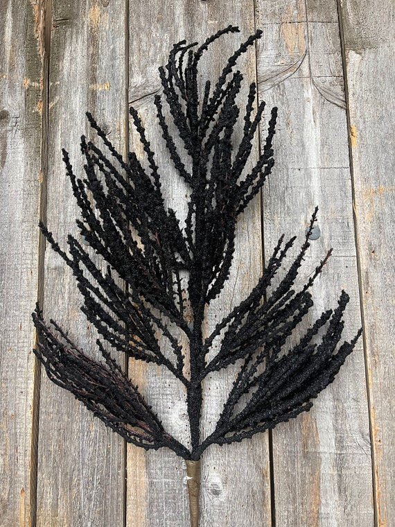 Flocked Black Sprays, Black Picks, Wreath Supplies, Decor, Halloween Sprays, Christmas Sprays