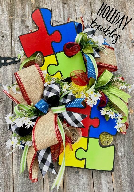 Autism Wreath, Autism Awareness Wreath, Autism Decor, Awareness Wreath, Until All the Pieces Fit Wreath, Wreath, Awareness