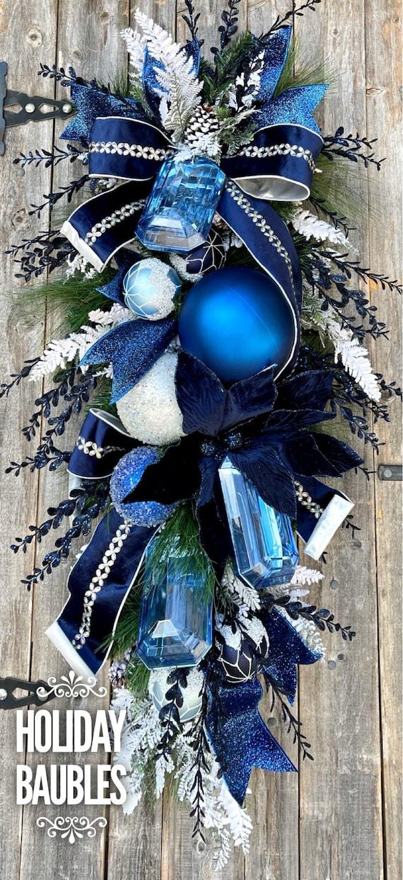 Christmas Wreath, Deluxe Christmas Teardrop Swag, Blue Christmas Wreath, Christmas Decor, Elegant Christmas Gems Wreath, Deluxe Christmas