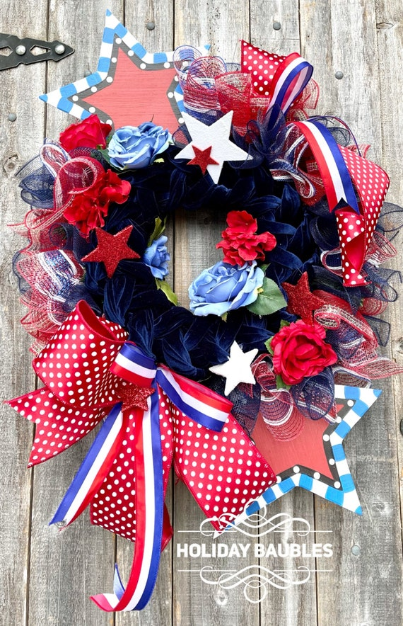 Patriotic Wreath, Fourth of July Wreath, Patriotic Decor, Red White and Blue Wreath, Memorial Day Wreath, Summer Wreath