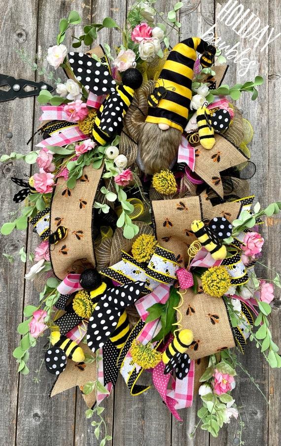 Summer Wreath, Gnome Wreath, Bee Wreath, Gnome Bee Wreath, Gnome Decor, Bumble Bee Wreath, Summer Decor