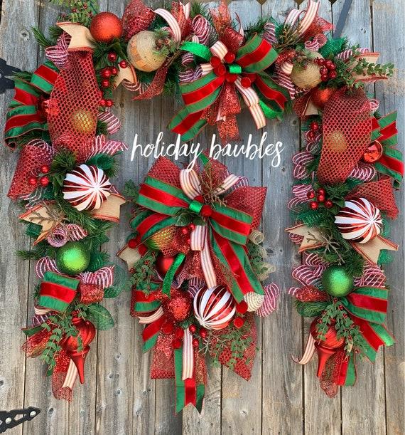 Christmas Wreath, Traditional Christmas Wreath, Christmas Garland, Christmas Duo Set, Christmas Decor