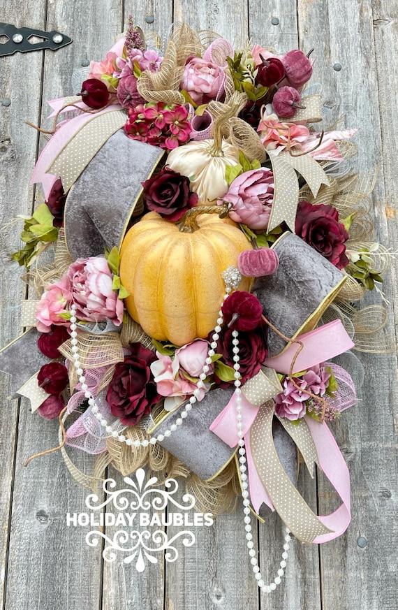 Fall Wreath, Elegant Fall Wreath, Autumn Elegant Wreath, Fall Decor, Fall Pumpkin Wreath, Shabby Chic Fall Wreath, Pumpkin Decor