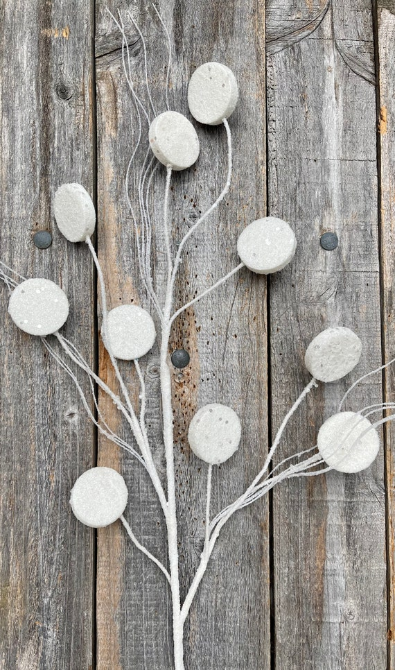 White Glitter Sprays, White Disk Glitter Sprays, Christmas Sprays, Christmas Tree Decor