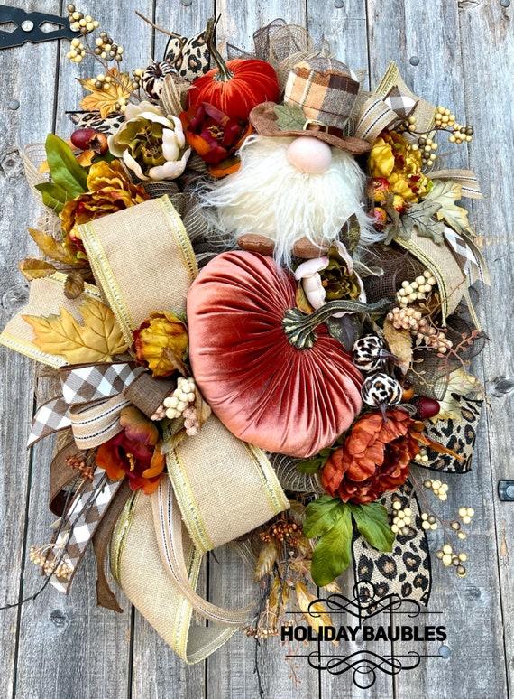 Fall Wreath, Fall Gnome Wreath, Cheetah Fall Wreath, Gnome Wreath, Autumn Wreath, Fall Decor, Autumn Decor, Gnome Cheetah
