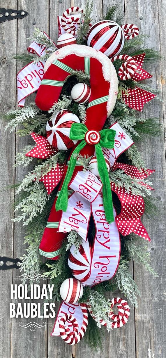 Christmas Wreath, Deluxe Christmas Wreath, Deluxe Christmas Swag, Candy Cane Wreath, Christmas Swag, Door Swag, Christmas Decor, Whimsical