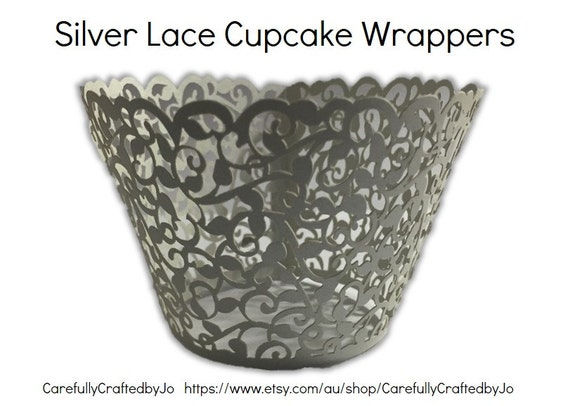 Set of 12, 24, 36 - Silver Lace Cupcake Wrappers - Wedding, Engagement, Parties, Events