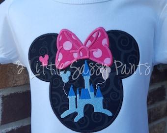 Minnie Mouse Castle Shirt, Custom Disney Shirt, Minnie Mouse Applique, Girls Minnie Mouse Shirt, Princess Shirt