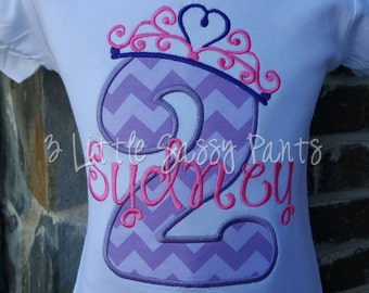 Princess Birthday Shirt, Custom Girls Birthday Shirt, Princess Crown Shirt, Embroidered Shirt, Applique Shirt, pink