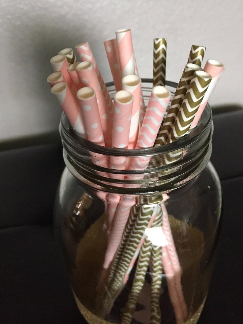 25 Count Gold /& White Chevron Straws