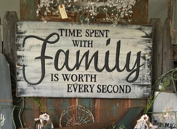 temps pass avec la famille vaut chaque seconde main peint etsy. Black Bedroom Furniture Sets. Home Design Ideas