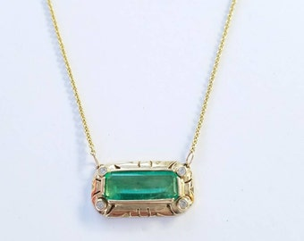 Emerald and Diamond Pendant Split Chain Necklace - 14k Yellow Gold -  Handmade Jewelry #1516 Watch video!