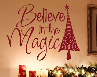 Christmas Wall Decal - Red - Christmas - Believe in the Magic Decal