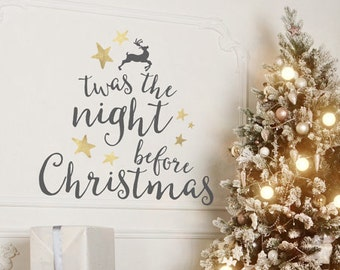 twas the night before christmas wall decal christmas decorations christmas decor wall decal christmas vinyl decal vinyl decal