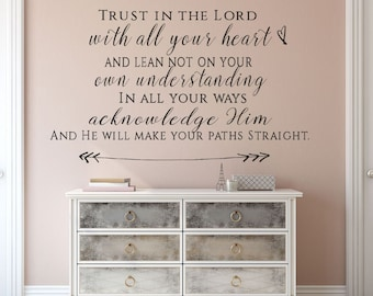 Trust in the Lord With All Your Heart, Christian Wall Decal, Wall Decal, Wall Quote, Bible Wall Decal, Bible Verse Wall Decal, Proverbs 3:5