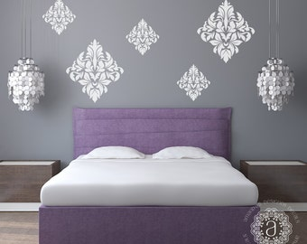 Bedroom Wall Decal, Bedroom Decor, Ornate Wall Decal, Damask Vinyl Decal, Bedroom Wall Decals, Wall Stickers, Vinyl Decals, Wall Decal