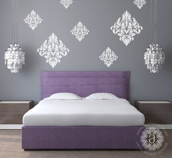 Bedroom Wall Decal Bedroom Decor Ornate Wall Decal Damask ...