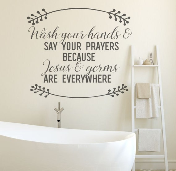 bathroom wall decal wall decals jesus and germs bathroom etsy rh etsy com wall decals for children's bathroom wall decals for bathroom quotes