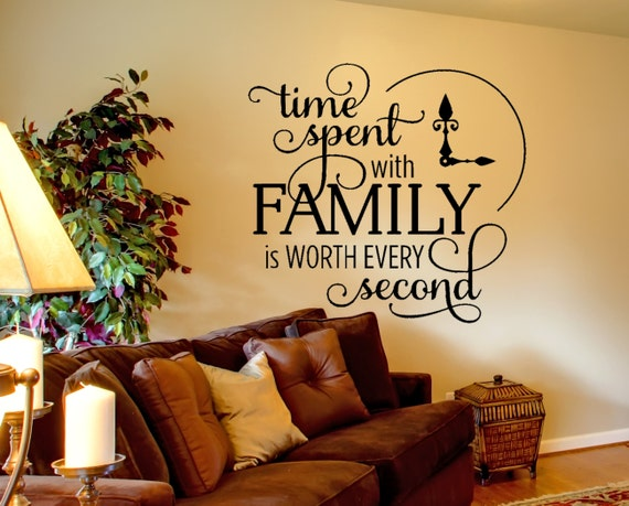 family wall decal time spent quote wall decal inspirational | etsy