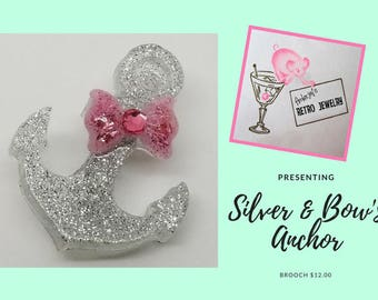Pink Bow U0026 Silver Anchor Brooch