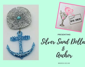 Silver Sand Dollar U0026 Anchor Brooch