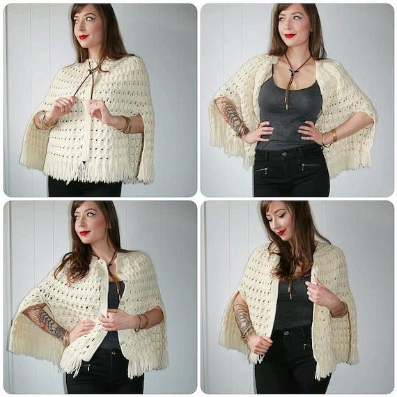 1970s Cream Knit Button Front Boho Bohemian Cape S