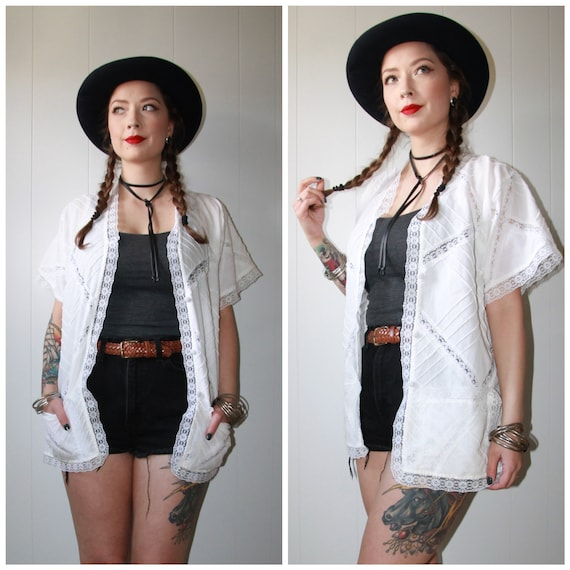 Vintage White Button Front Oversized Duster Top Bu