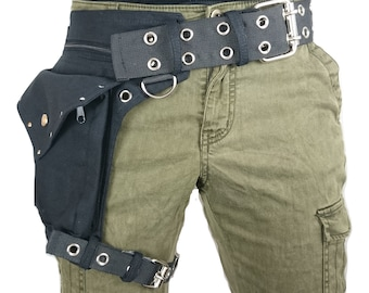 Leg strap utility belt, also in plus sizes, made of organic cotton * FIXED thigh belt * Fanny Pack, Holster bags, Hip Bag Burning man