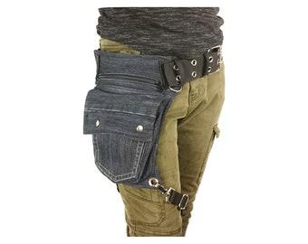 5a7b0e215a9 Denim utility belt with an extra leg strap