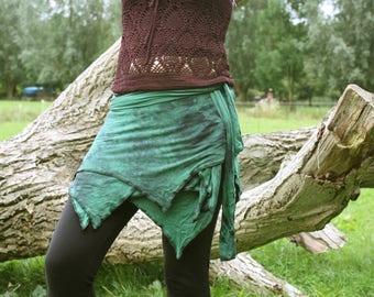Green pixie wrap skirt, also for plus size pixies, tie dye skirt, fairy wrap miniskirt, gypsy, bohemian, Psytrance batik festival clothing