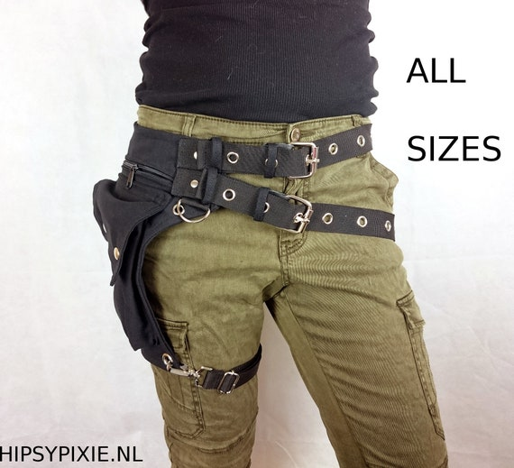 Utility belt with REMOVABLE leg strap on the thigh, and belt buckle * plus sizes also, Festival belt, Holster bag, waist pockets, hip purse