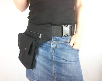 Utility belt made of organic cotton canvas, a black hip bag, ALL SIZES also plus sizes, festival fanny pack *hip purse* waist pockets