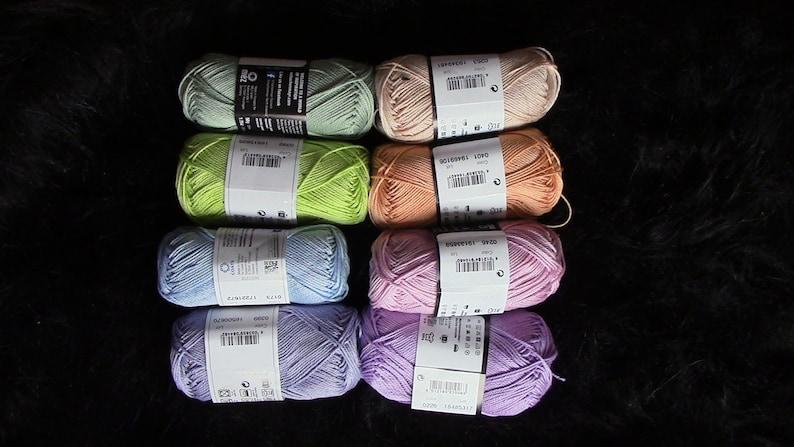 PASTEL color combination of cotton crochet yarn 8 skeins of Catania yarn 50 gram each