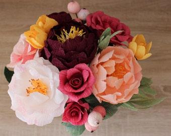 Paper Flower Bouquet, Custom Bridal Bouquet, Wedding Bouquet, Customizable Paper Bouquet, Bridal Flowers, Anniversary Bouquet Autumn Bouquet