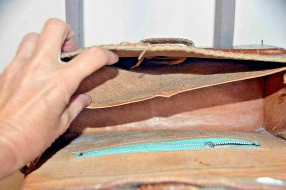 Vintage snakeskin leather bag brown office weddin… - image 6