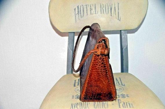 Vintage snakeskin leather bag brown office weddin… - image 2
