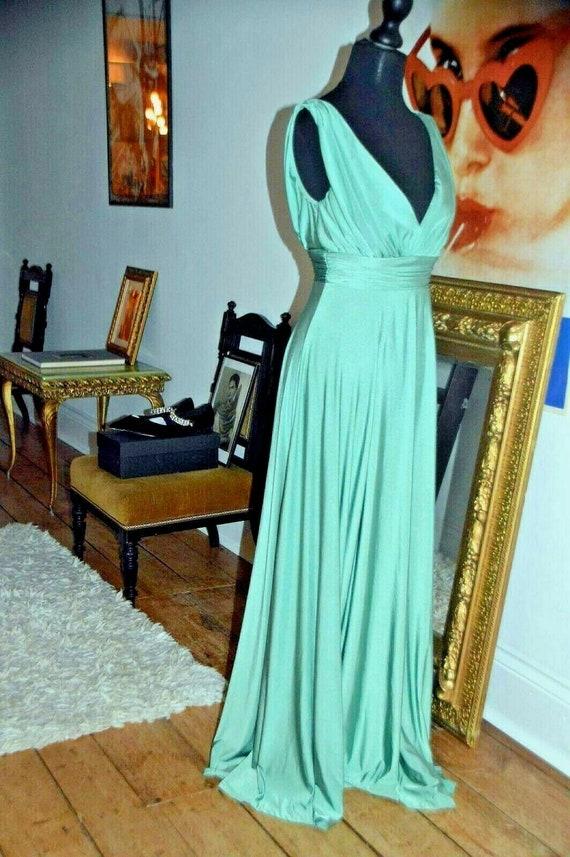 Biba goddess dress gown wedding evening 40's  gree