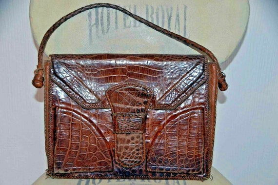 Vintage snakeskin leather bag brown office wedding
