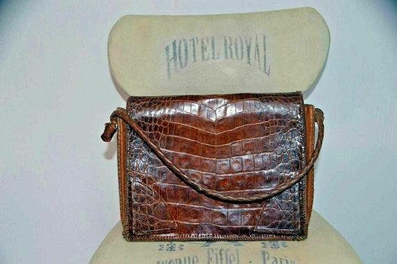 Vintage snakeskin leather bag brown office weddin… - image 5