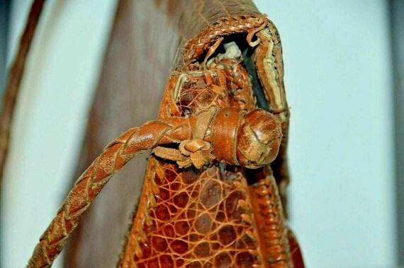 Vintage snakeskin leather bag brown office weddin… - image 4