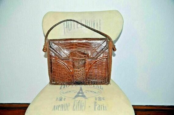 Vintage snakeskin leather bag brown office weddin… - image 7
