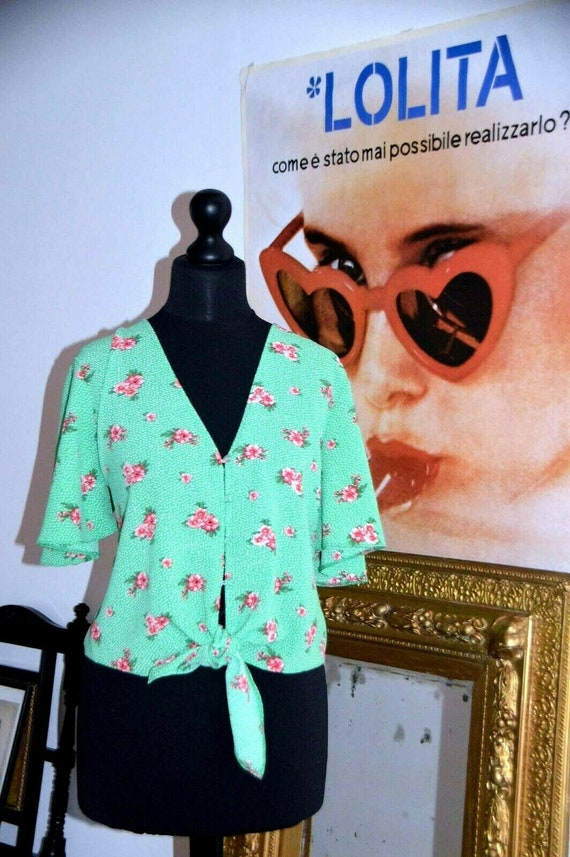 Crop blouse vintage 80's green floral doen rouje p