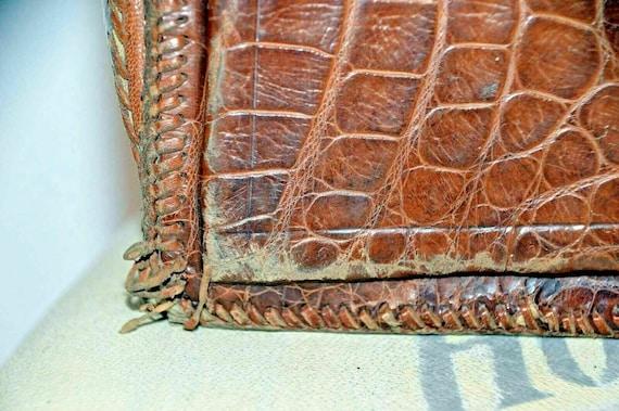 Vintage snakeskin leather bag brown office weddin… - image 3