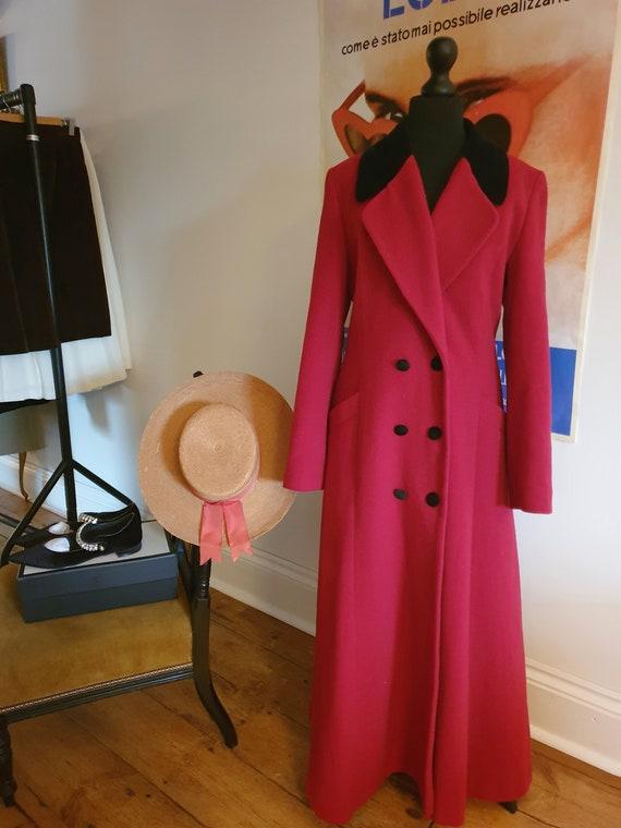 vintage wool princess cut coat red wool black velv