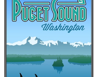 "Puget Sound Poster Print - Large (16"" x 20"")"