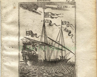 """1719 Manesson Mallet """"Galere"""" Rowing Warship, Ship, Sails, Rigging, Flags, Ropes, Antique Print"""