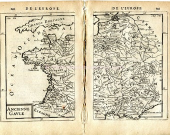 Italy Spain Antique Map Print Engraving France Germany 1683 Manesson Mallet Grande Prefecture des Gaules Territory of the Gaules