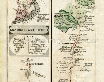 Map John Cary 1790 Richmond Park Kingston Photo print Canvas