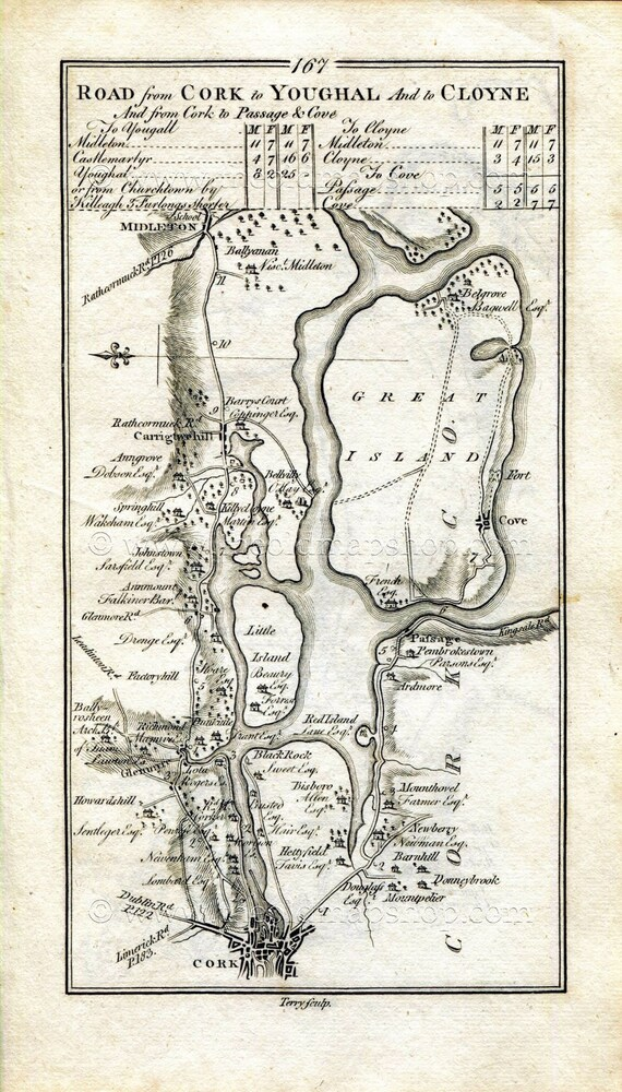 1778 Taylor Skinner Antique Ireland Road Map 167 168 Cork Etsy